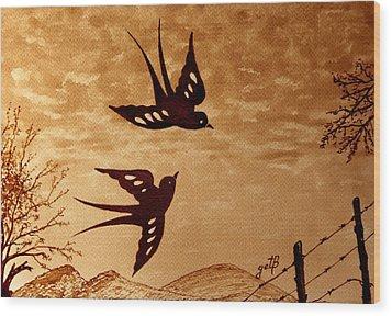 Wood Print featuring the painting Playful Swallows Original Coffee Painting by Georgeta  Blanaru