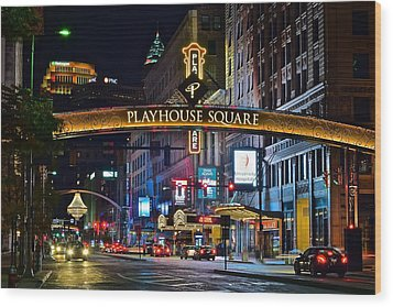 Playhouse Square Wood Print