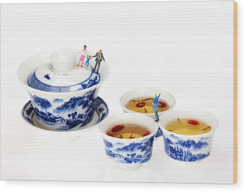 Playing Among Blue-and-white Porcelain Little People On Food Wood Print by Paul Ge