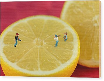 Playing Baseball On Lemon Wood Print