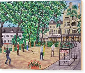 Playing Boules At Betty's Cafe- Harrogate Wood Print by Ronald Haber