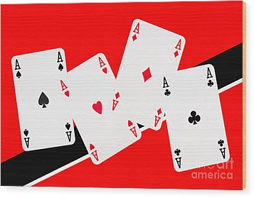 Playing Cards Aces Wood Print by Natalie Kinnear