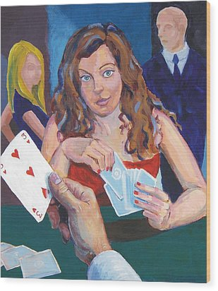 Playing Cards Wood Print by Mike Jory