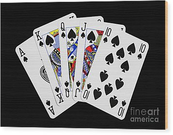 Playing Cards Royal Flush On Black Background Wood Print by Natalie Kinnear
