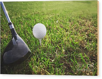 Playing Golf. Club And Ball On Tee Wood Print by Michal Bednarek