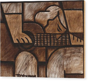 Tommervik Man Playing Acoustic Guitar Art Wood Print
