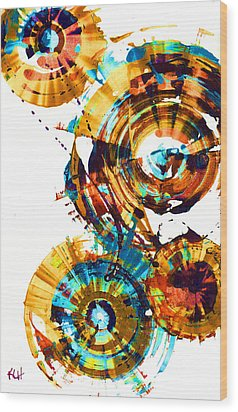 Wood Print featuring the painting Playing In The Wind 1000.042312 - Popart-1 by Kris Haas