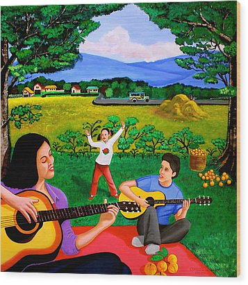 Playing Melodies Under The Shade Of Trees Wood Print by Cyril Maza