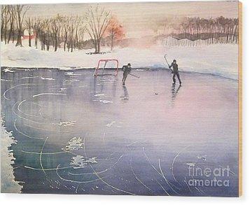 Playing On Ice Wood Print by Yoshiko Mishina
