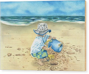 Playing On The Beach Wood Print