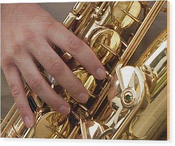 Playing Sax Wood Print by Jim Finch