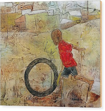 Playing Solo Wood Print by Ronex Ahimbisibwe