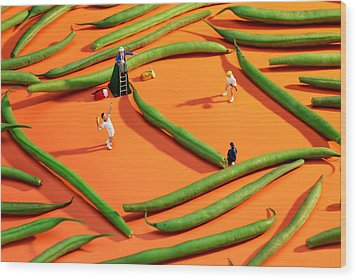Playing Tennis Among French Beans Little People On Food Wood Print by Paul Ge