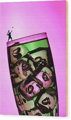 Playing Tennis On A Cup Of Lemonade Little People On Food Wood Print by Paul Ge