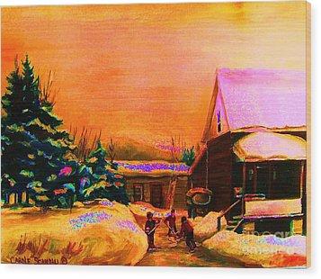 Playing Until The Sun Sets Wood Print by Carole Spandau