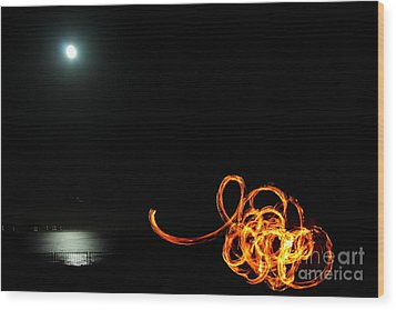 Playing With Fire 1 Wood Print by Theresa Ramos-DuVon