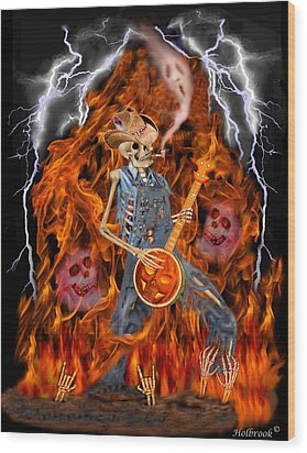 Playing With Fire Wood Print by Glenn Holbrook