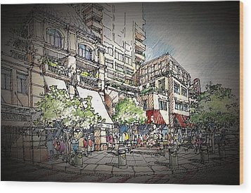 Plaza 2 Wood Print
