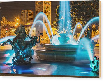 Plaza Blue Fountain Wood Print