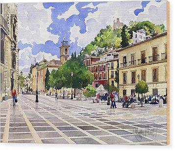 Plaza Nueva And Santa Ana Church Granada Wood Print by Margaret Merry