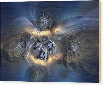 Wood Print featuring the digital art Pleasant Effusion by Casey Kotas
