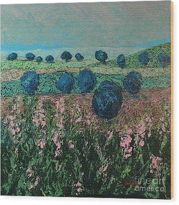 Pleasant Meadows Wood Print by Allan P Friedlander