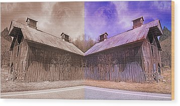 Pleasant View Country Barns Wood Print by Betsy Knapp