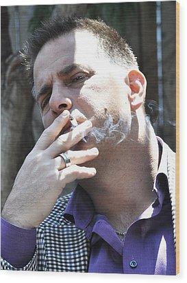 Please Don't Smoke Wood Print by Lisa  DiFruscio