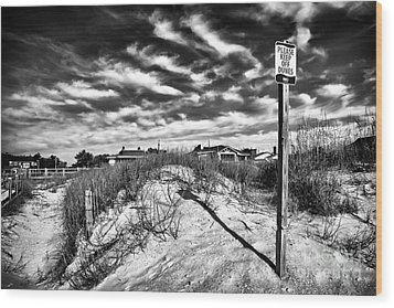 Please Keep Off Dunes Wood Print by John Rizzuto