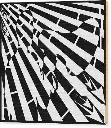 Please Step Away Maze  Wood Print by Yonatan Frimer Maze Artist
