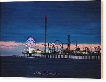 Wood Print featuring the photograph Pleasure Pier-galveston by Allen Biedrzycki