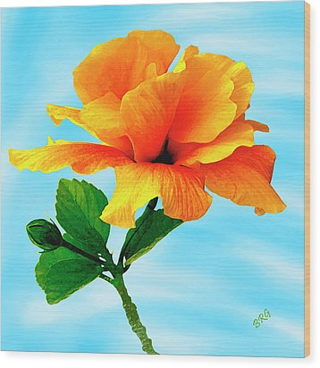 Pleasure - Yellow Double Hibiscus Wood Print by Ben and Raisa Gertsberg