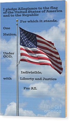 Pledge Of Allegiance Wood Print