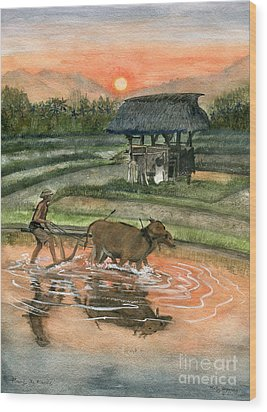Plowing The Ricefield Wood Print