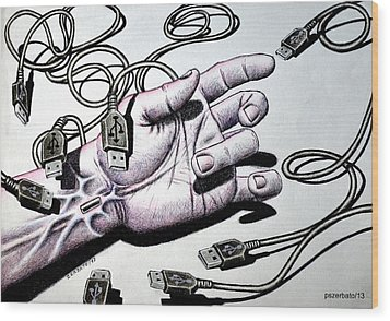 Plug And Play Pnp Wood Print by Paulo Zerbato