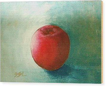 Wood Print featuring the painting Plum 2 by Jane  See
