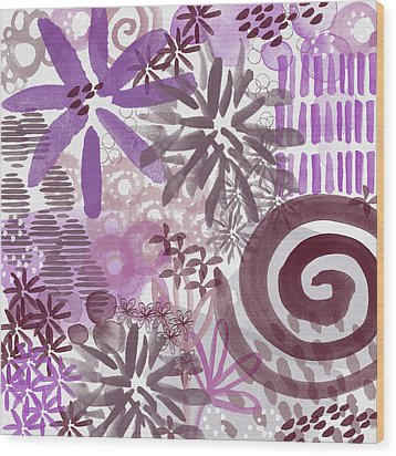 Plum And Grey Garden- Abstract Flower Painting Wood Print by Linda Woods