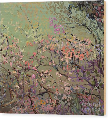 Plum Blossoms Wood Print by Ursula Freer