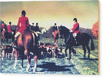 Wood Print featuring the photograph Plum Run Hunt Opening Day by Angela Davies