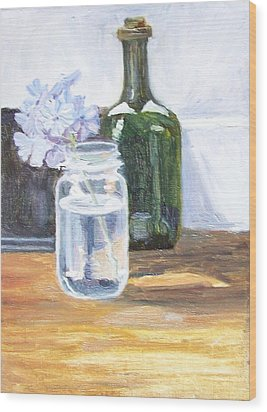 Plumbago In Glass Jar Wood Print by Mary Adam