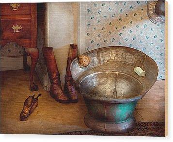 Plumber - Bath Day Wood Print by Mike Savad