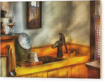 Plumber - The Wash Basin Wood Print by Mike Savad