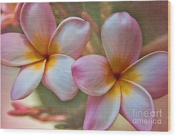 Wood Print featuring the photograph Plumeria Pair by Peggy Hughes