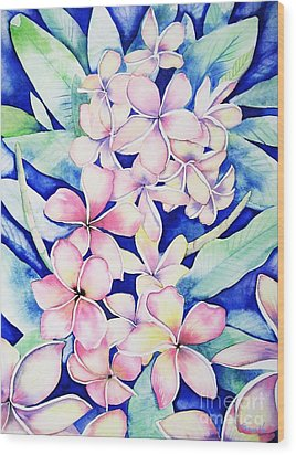Plumerias Of Maui Wood Print
