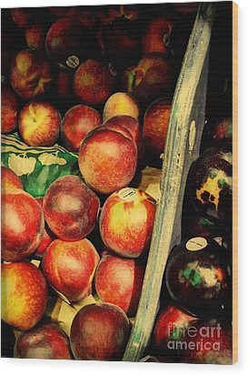 Plums And Nectarines Wood Print by Miriam Danar