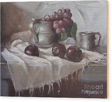 Plums Grapes And Pewter Wood Print by Viktoria K Majestic