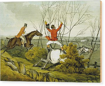 Plunging Through The Hedge From Qualified Horses And Unqualified Riders Wood Print by Henry Thomas Alken