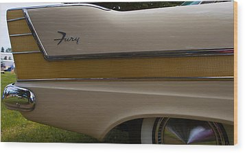 Plymouth Fury Tail Fin Detail 2 Wood Print by Mick Flynn