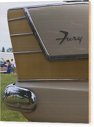 Plymouth Fury Tail Fin Detail Wood Print by Mick Flynn
