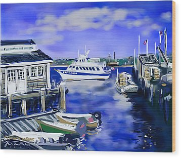 Wood Print featuring the painting Plymouth Harbor by Jean Pacheco Ravinski
